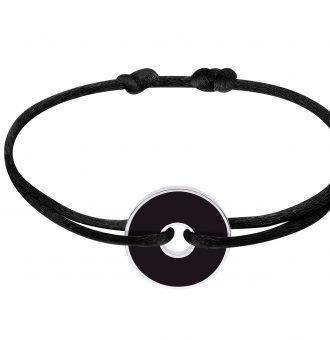 DINH VAN Bracelet sur cordon Pi White & Black 18 mm, ARGENT + ONYX