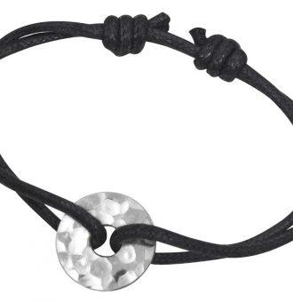 Bracelet dinh van Pi Chinois sur cordon noir.