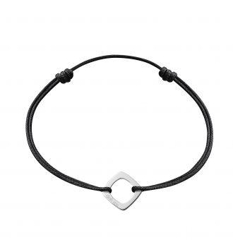Bracelet dinh van Impression sur cordon Petit modèle, or blanc.