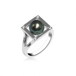 Bague CARRE TOM G Perle Tahiti, diamants & or blanc