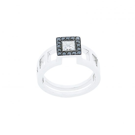 Solitaire EPURE de TOM G Diamants noirs et blancs sur or blanc