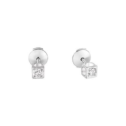 sélection premium le plus populaire large sélection Puces d'Oreilles Dinh Van Le Cube Diamant Petit Modèle, or blanc + diamants.
