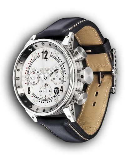 Montre B.R.M. V12 Chronographe cadran blanc aiguilles polies