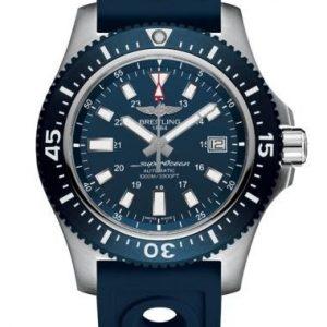 Montre Breitling Superocéan II Spéciale Bleue Acier satiné 44 mm bracelet caoutchouc