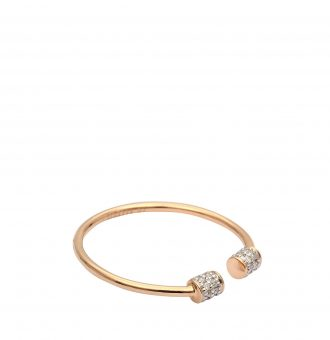 Bague Ginette NY Choker Ring Single Diamond Or Rose