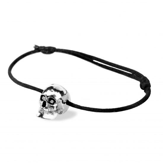 Bracelet Tom G Vanité Argent noir 2 diamants blancs sur cordon coton noir