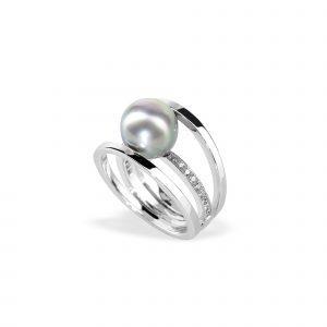 Bague TOM G 3 Anneaux Perle de Tahiti Diamants or blanc