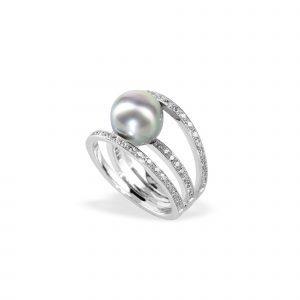 Bague TOM G 3 Anneaux Perle de Tahiti Full Diamants or blanc