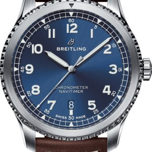 Montre Breitling Navitimer 8 Automatic 41 cadran bleu bracelet cuir brun