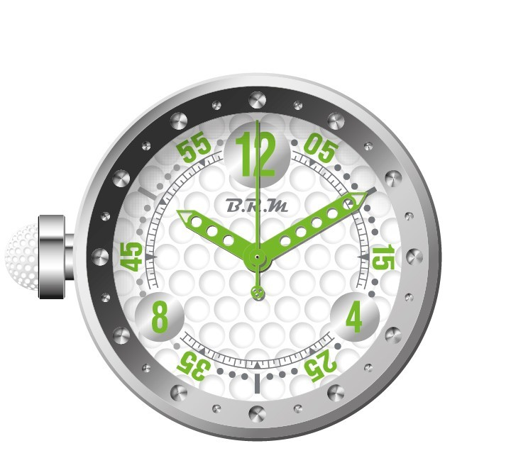 Horloge Murale Cadran Blanc Design Balle De Golf Aiguilles Vertes B R M