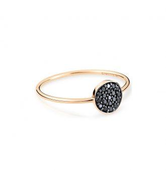 Bague Ginette NY Mini Black Diamants Ever Disc
