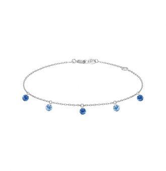 Bracelet La Brune & La Blonde Confetti Bleu 5 pierres 0.65 carat or blanc