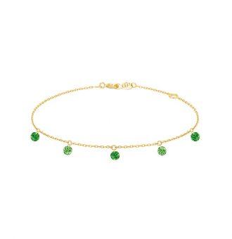 Bracelet La Brune & La Blonde Confetti Vert 5 pierres 0.65 carat or jaune