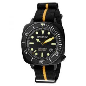Sélection plongeuses Briston Clubmaster rayure jaune bracelet nato